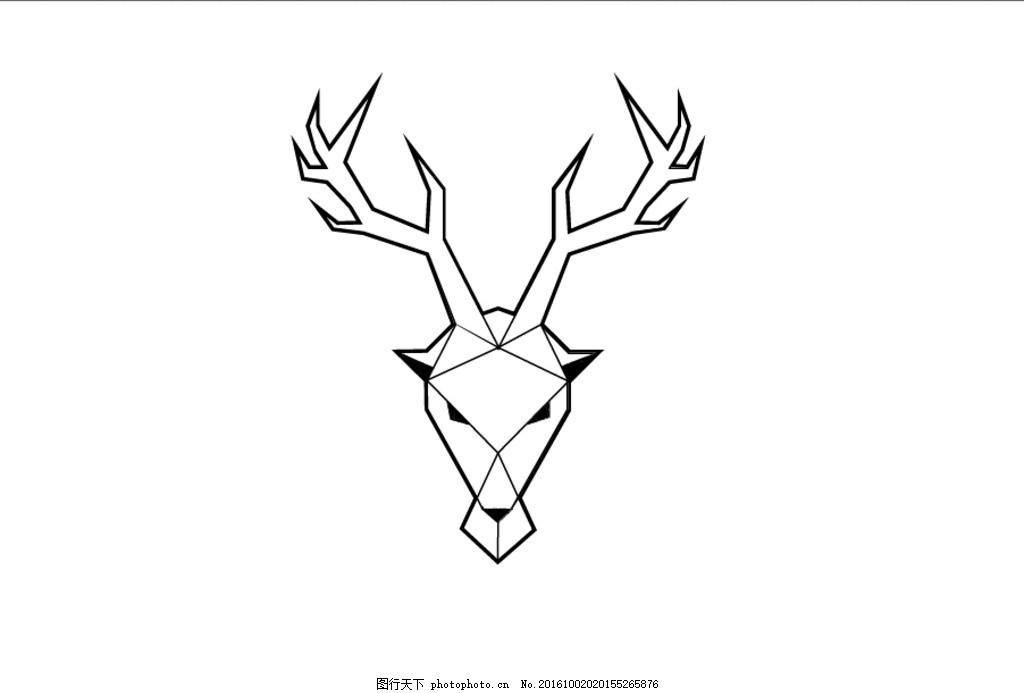 简约鹿头 简约 鹿 手绘 标签      设计 标志图标 其他图标 ai