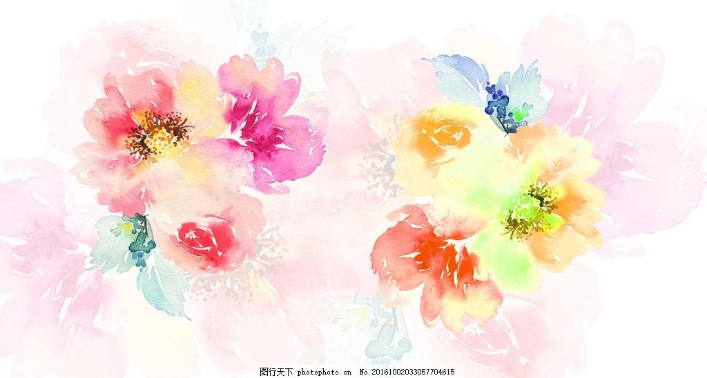 梦幻水彩花朵 水彩画 鲜花 花卉 彩绘花卉 水墨花 手绘花卉 彩色花