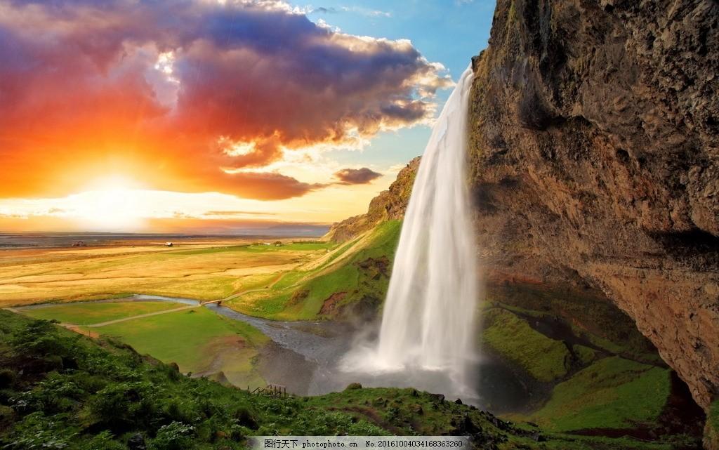 太阳 夕阳 瀑布 山水 景色      摄影 自然景观 自然风景 72dpi jpg