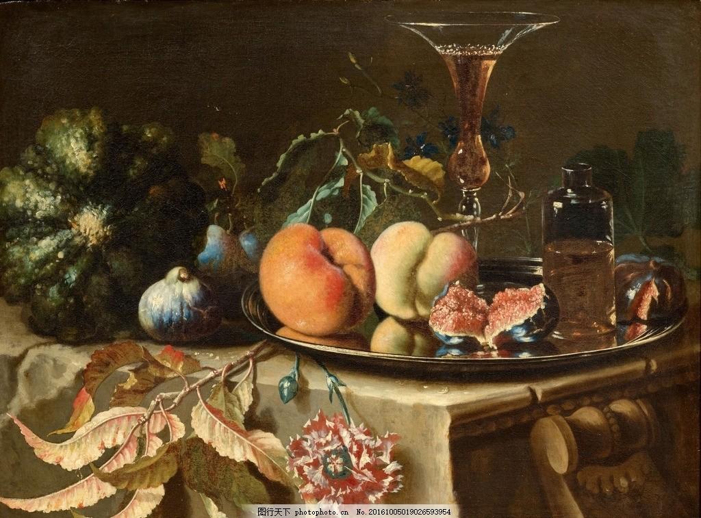 静物油画 甜瓜 金属盘子 桃子 无花果 古典油画 油画 设计 文化艺术