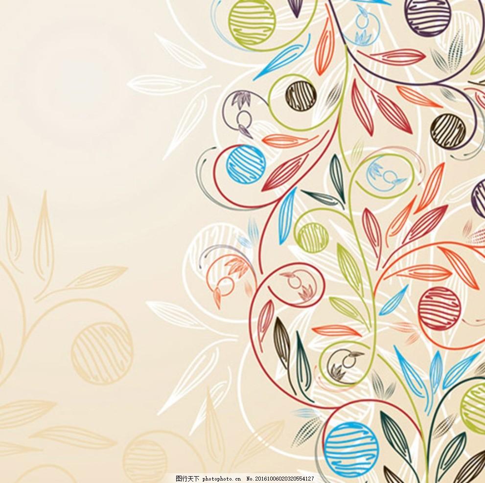 植物花边 植物花纹素材 墙贴植物花纹 热带植物花纹 黑白植物花纹