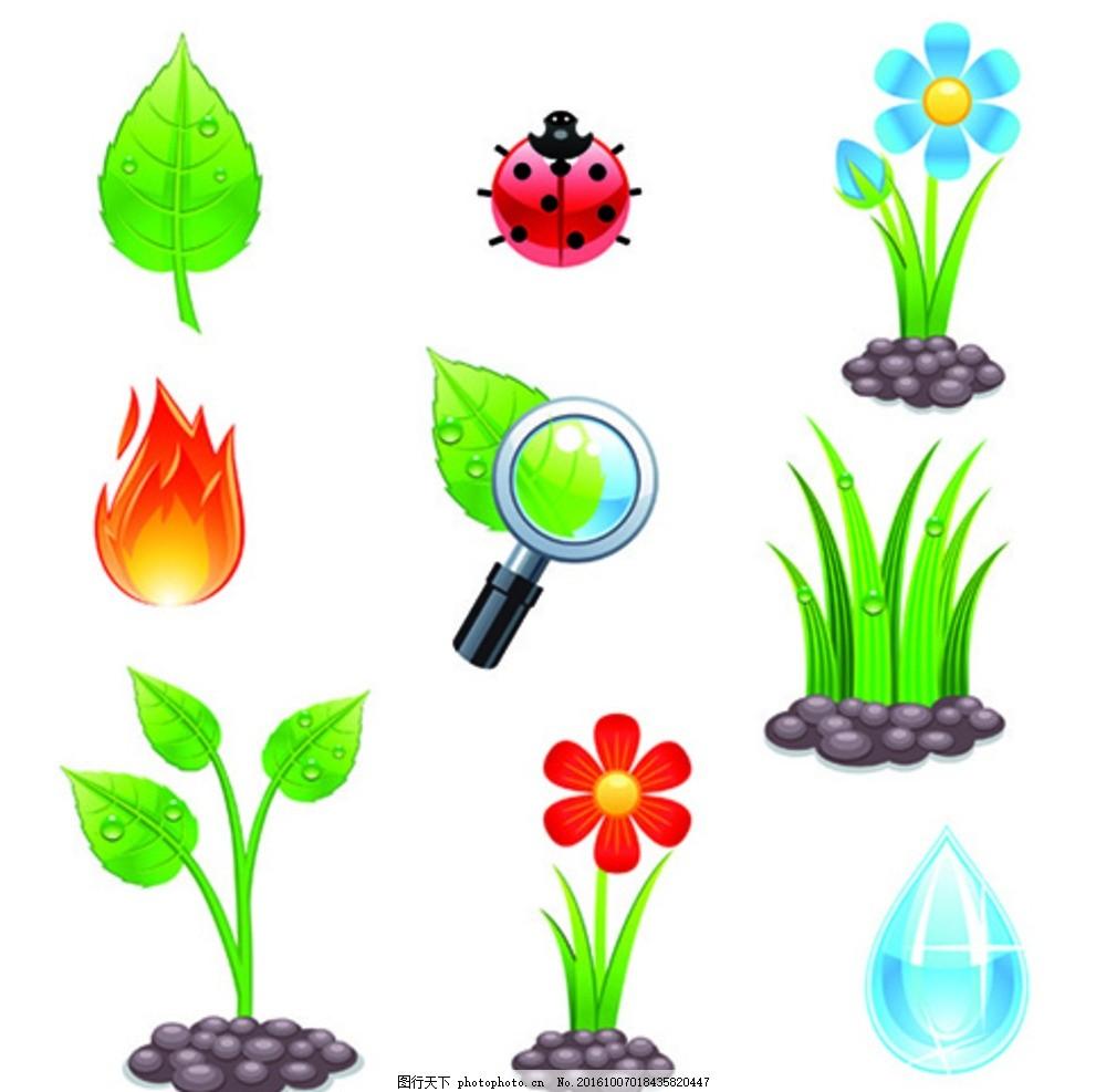 卡通水滴 植物 昆虫