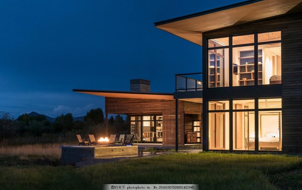 豪宅夜景 建筑园林 环境园艺 别墅花园 时尚空间 房间 窗 阳台欧式