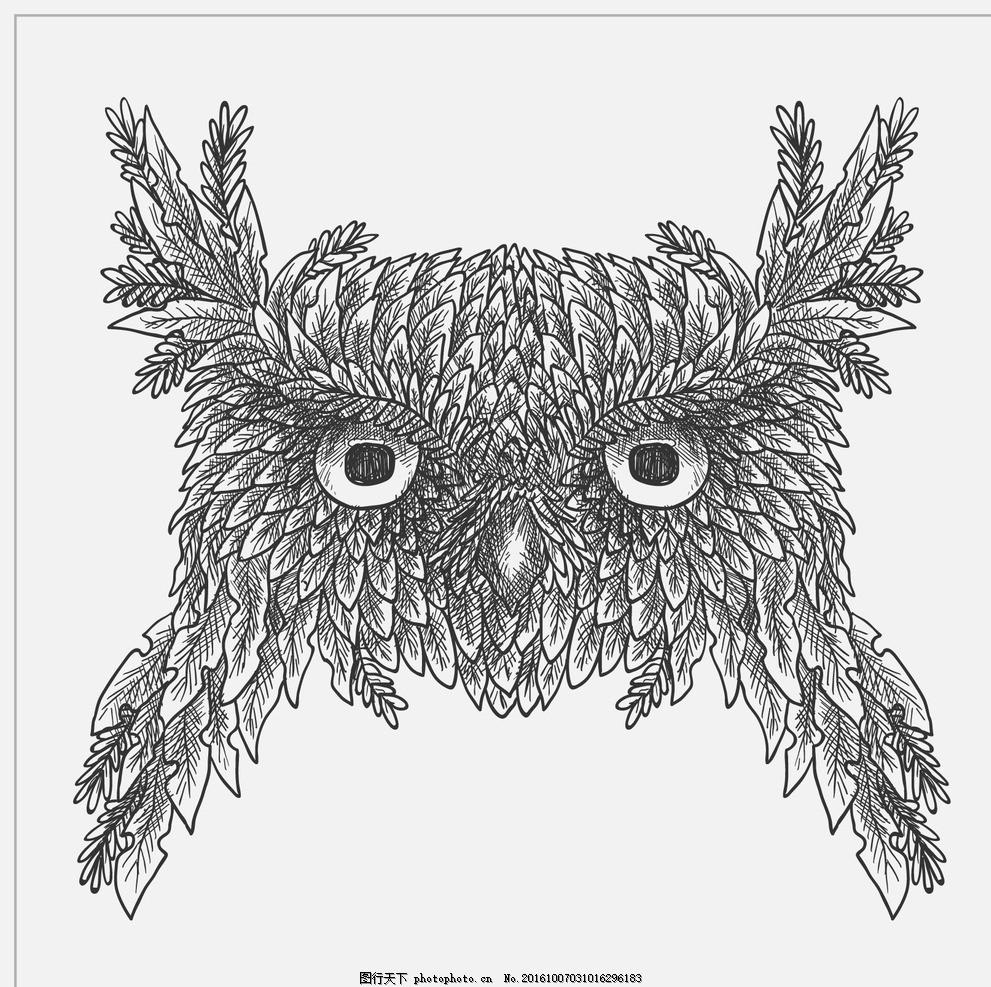 猫头鹰的素描 手鸟 自然 叶 动物 画 森林 翅膀 叶子 羽毛