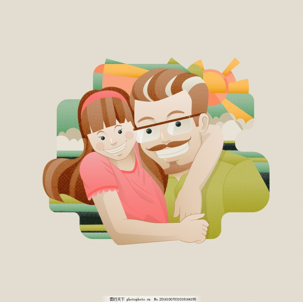 摘要 爱 卡 家庭 快乐 可爱 庆祝父亲节 爸爸 插图 幸福的家庭 可爱的
