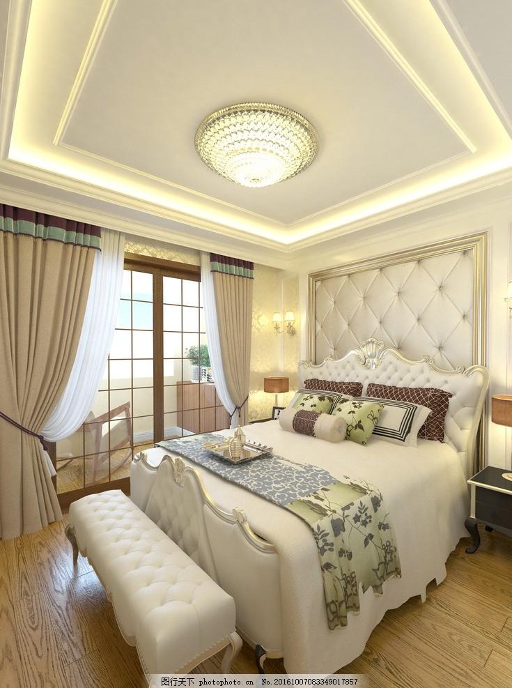 简欧卧室 简约 欧式 明亮 背景墙 环境设计 室内设计