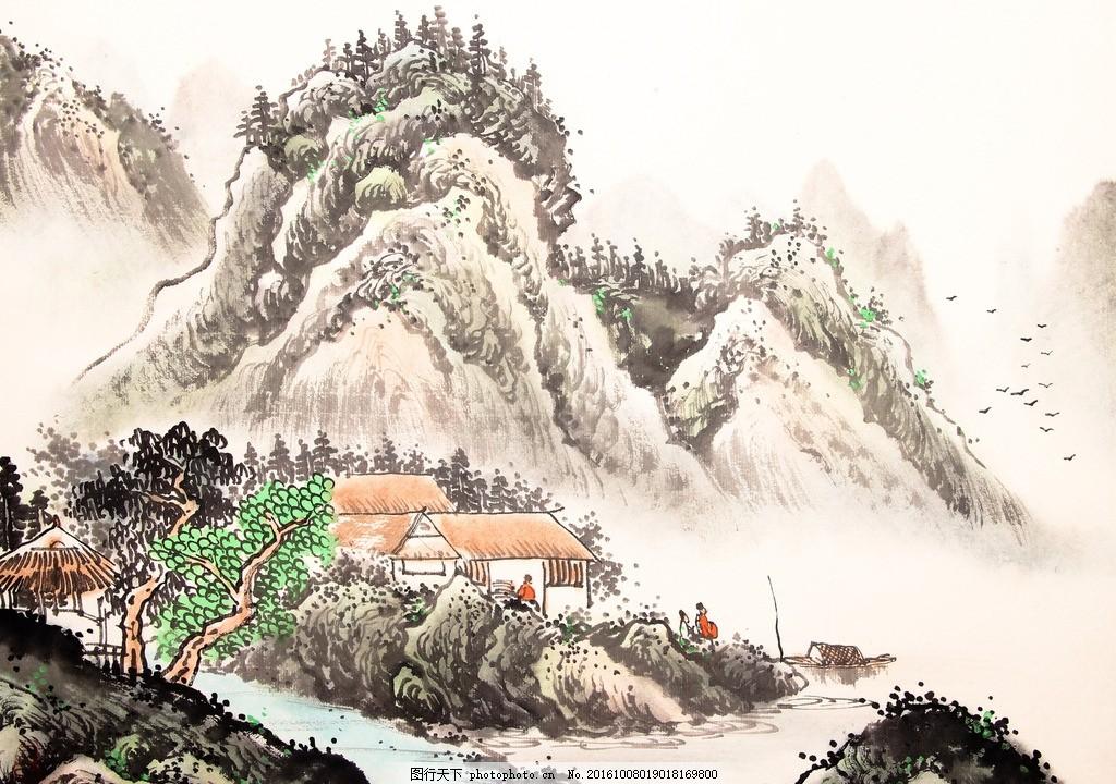 水墨画 水墨 山水 房子 树木 树林 河水 设计 文化艺术 绘画书法 300
