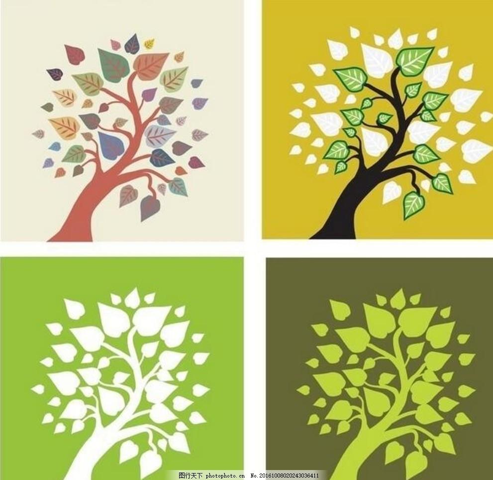 树木 剪影 矢量素材 eps 卡通树 矢量树 手绘树 剪影树 设计 底纹边框