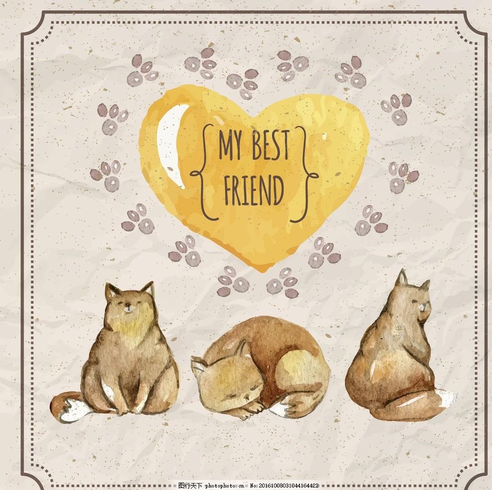心脏 水彩 手 自然 猫 动物 可爱 宠物 黄色 可爱的 脚印 画 彩绘
