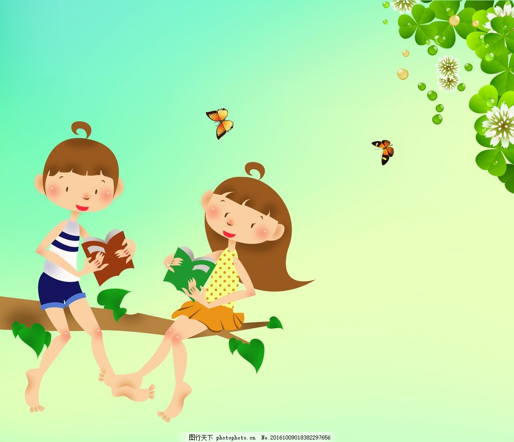 小伙伴 卡通 小女孩 小男孩 蝴蝶 树枝 动漫动画