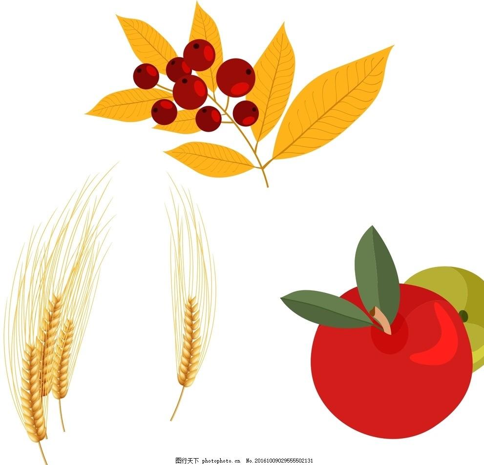 红色果实 麦穗,矢量素材 卡通素材 手绘素材 秋季素材