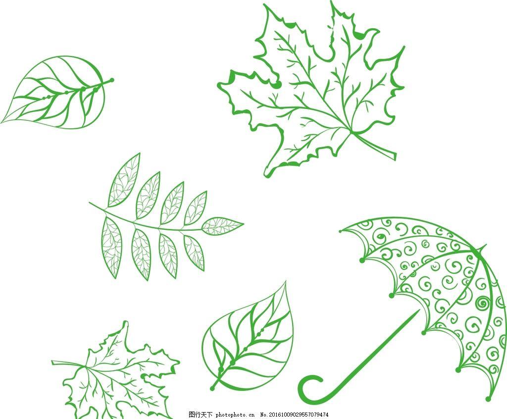 简笔画 矢量素材 手绘 简笔画 儿童简笔画 素材 矢量 树叶纹理 落叶