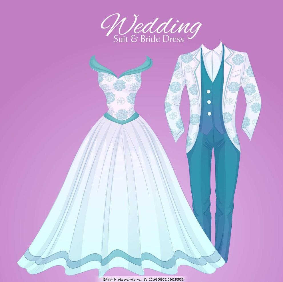 手绘华丽的婚礼服