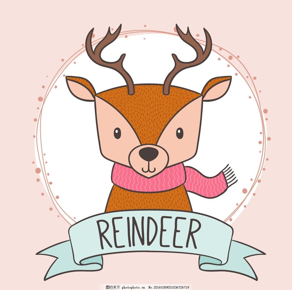 手绘可爱的驯鹿 丝带 自然 动物 画 粉红色 性质 森林 绘画