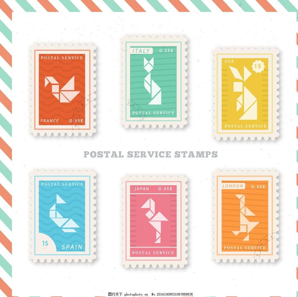折纸动物形状 标签 徽章 几何 邮票 鸟鱼猫 贴纸 平 日本