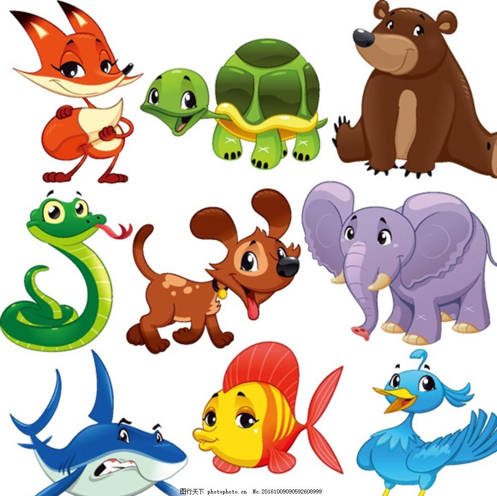 卡通动物 矢量素材 可爱动物 大眼动物 小鸡 大象 长颈鹿 斑马