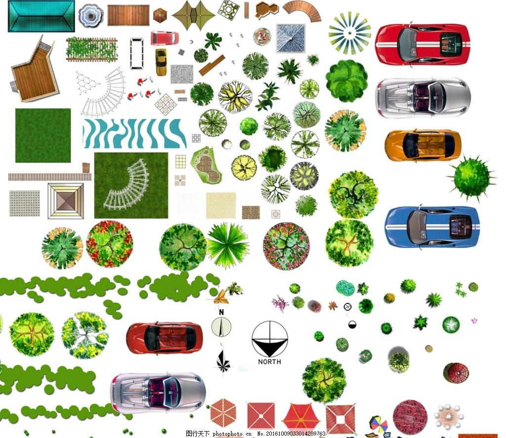 园林景观设计素材彩色平面图,手绘 休息亭 公园 汽车