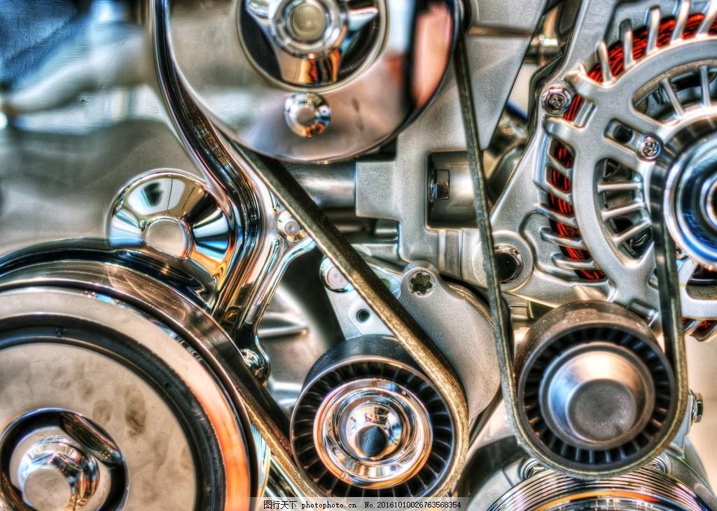 发动机 汽车发动机 炫丽色彩 动力系统 皮带 动力传输 流光溢彩