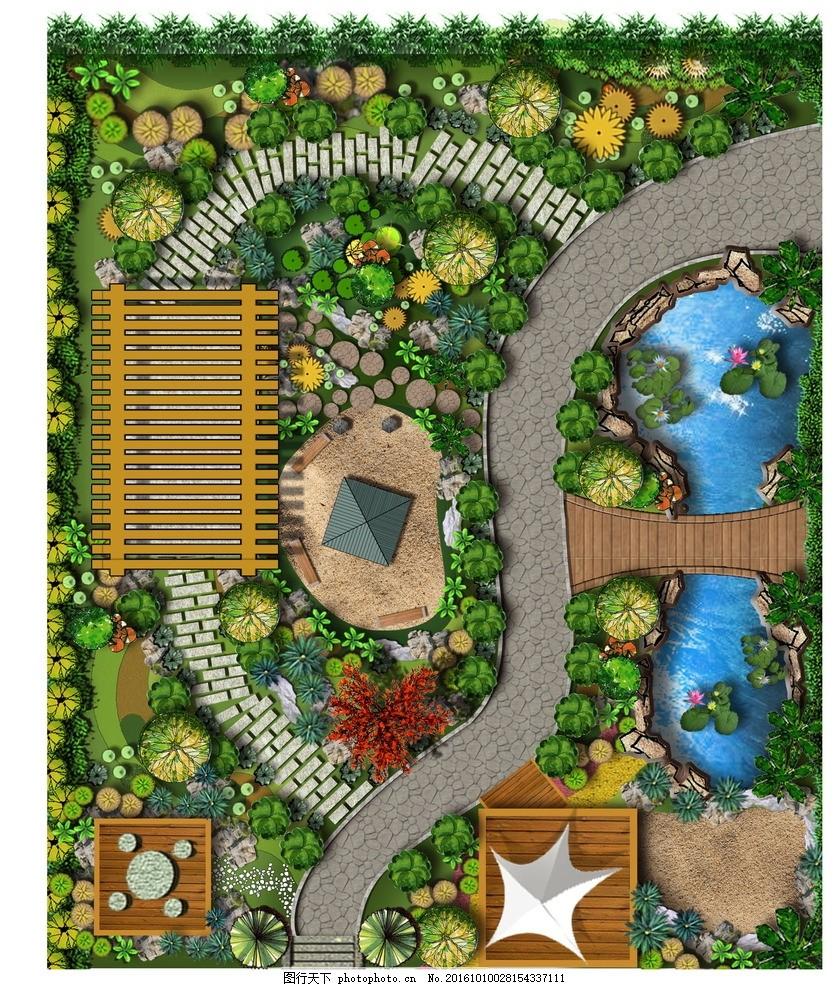 别墅景观平面图 平面植物 张拉膜 石凳 藤攀
