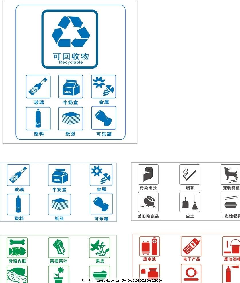 垃圾回收分类标志 垃圾桶图片,不可回收 可回收图标