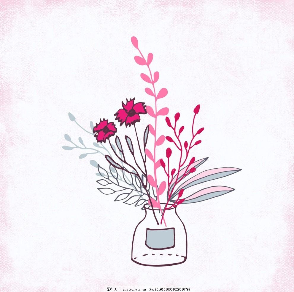 粉红色花束手工制作 背景 花卉 水彩 自然 手工绘制的 壁纸 花瓶