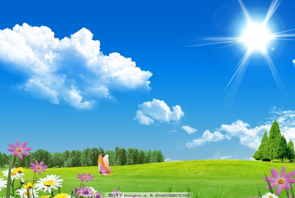 蓝天白云草地 鲜花 太阳 阳光 树林 蝴蝶