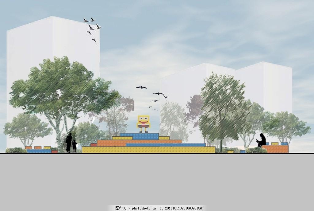 广场剖面图 景观 植物 雕塑