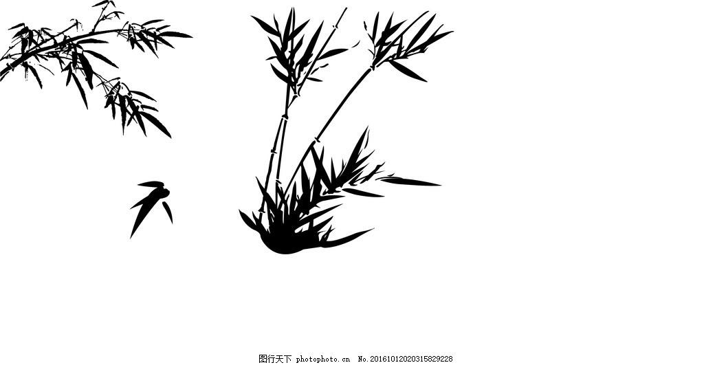 竹子 竹叶 矢量素材 水墨 中国风 ai 设计 底纹边框 花边花纹 ai
