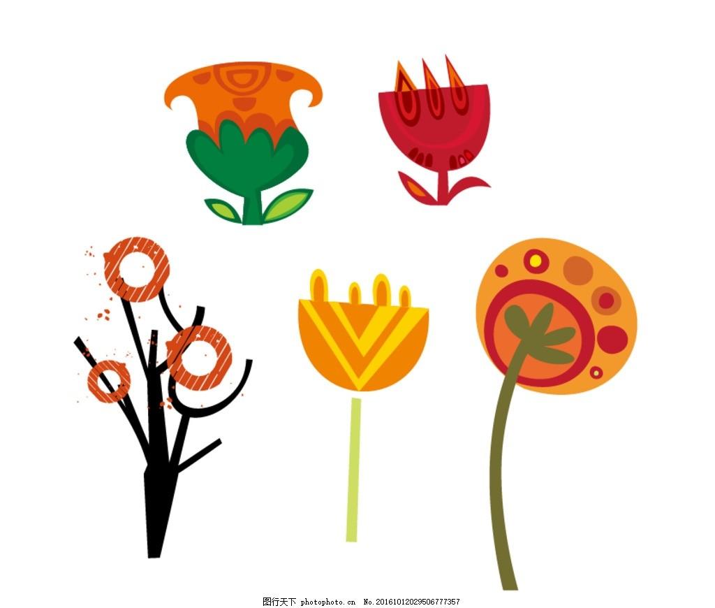 卡通花朵 树木 卡通素材 可爱 手绘素材 幼儿园素材 卡通装饰素材