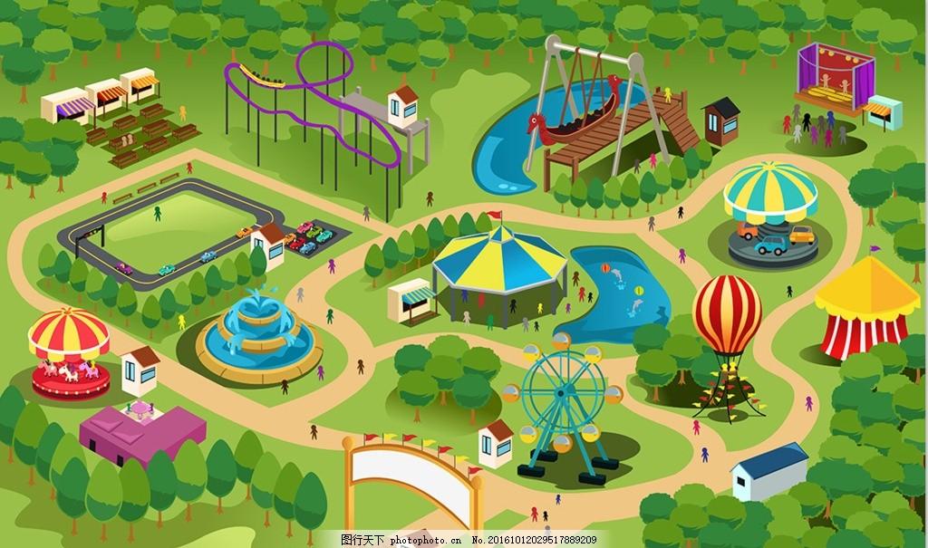游乐园设计 游乐设施 益智 教育通插画 卡通漫画 手绘插画 其他 生活