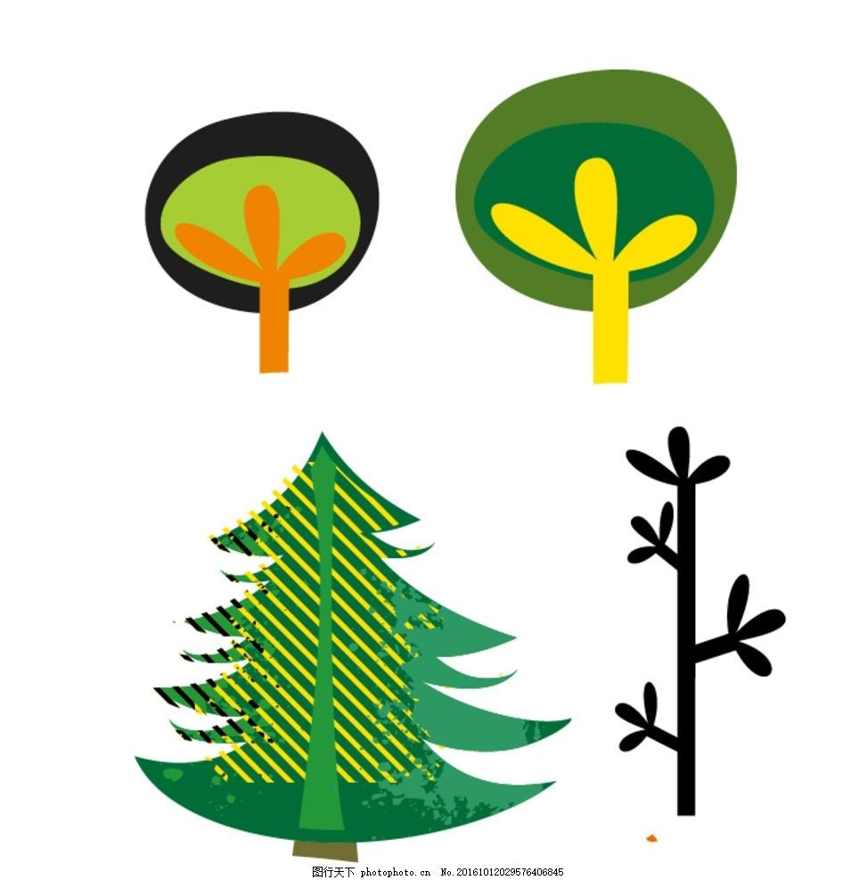 卡通树木 松树 卡通素材 可爱 手绘素材 儿童素材 涂鸦树木 卡通装饰