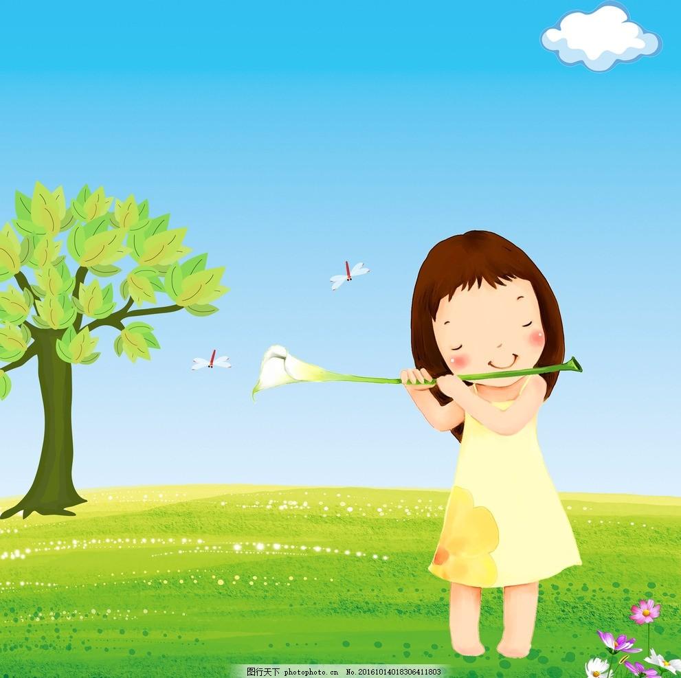 可爱小女孩 卡通 百合花 蝴蝶 大树 蓝天白云草地 动漫动画图片