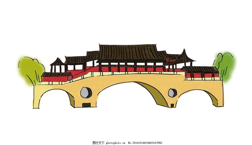 成都廊桥 手绘 建筑 动漫动画