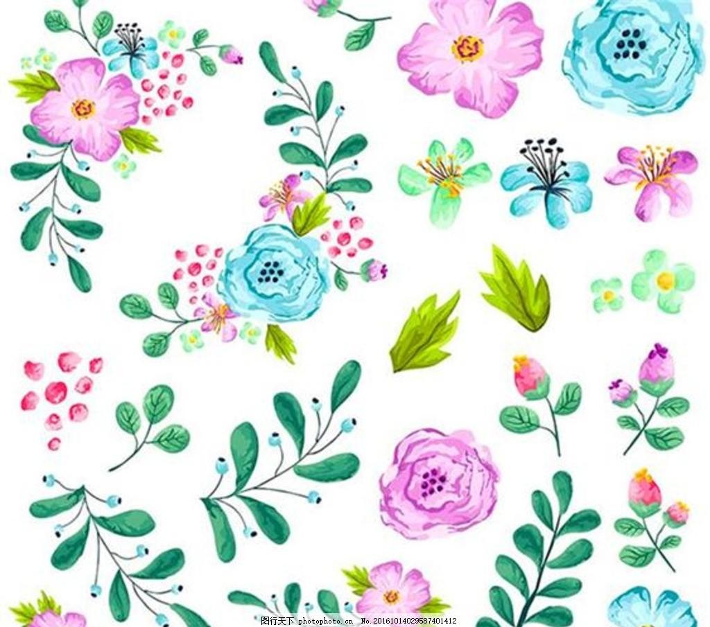 手绘水彩花朵 手绘花朵边框 花朵素材 花朵图片 卡通 花朵矢量图