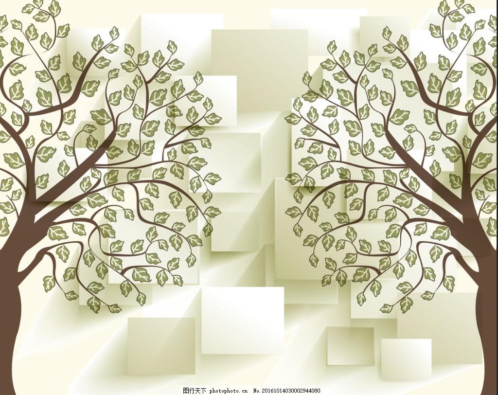 抽象树 欧式植物花纹 植物花边 墙贴植物花纹 热带植物花纹 黑白植物