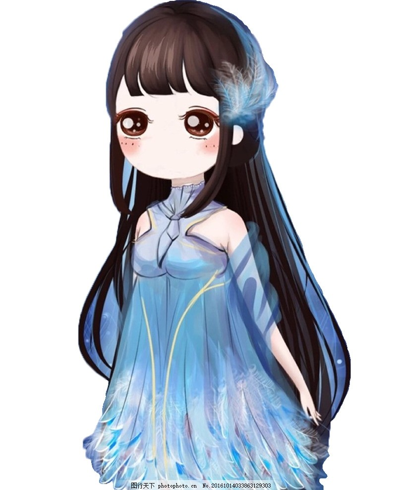 动漫人物 卡通 美女 动漫 蓝色裙子 萌萌哒 设计 其他 图片素材 103
