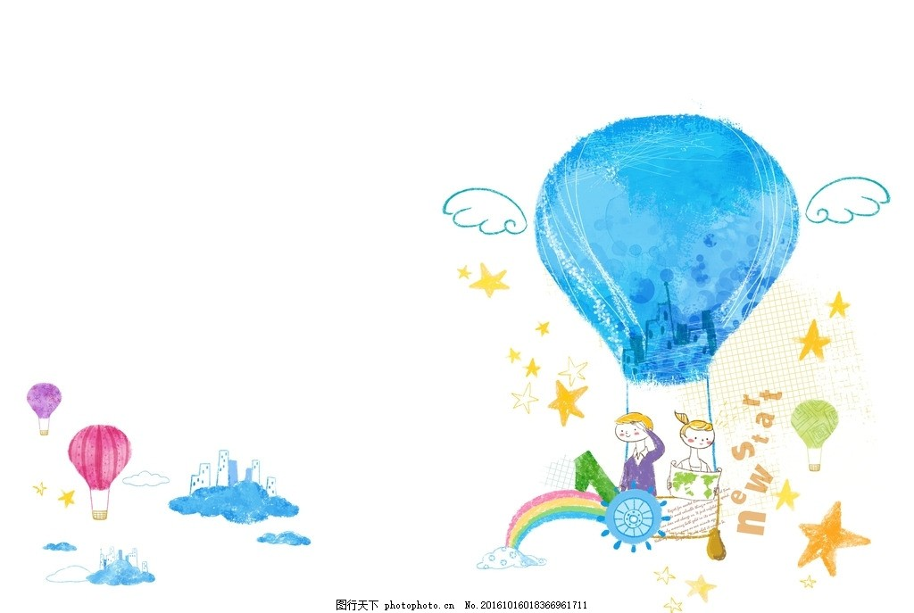 卡通梦幻热气球人物素材 设计素材 卡通背景 梦幻背景 儿童卡通 可爱
