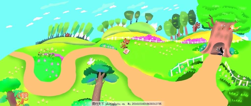 卡通图画 卡通 森林 图画 画画 树木涂鸦 幼儿 设计 动漫动画 其他 30