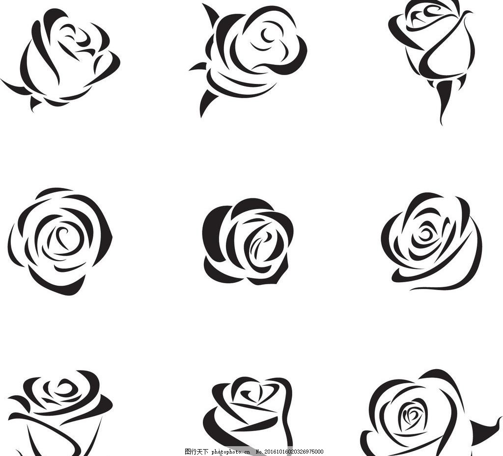 手绘玫瑰花ai矢量图,线描 潮流花纹 线条花纹 手绘-图