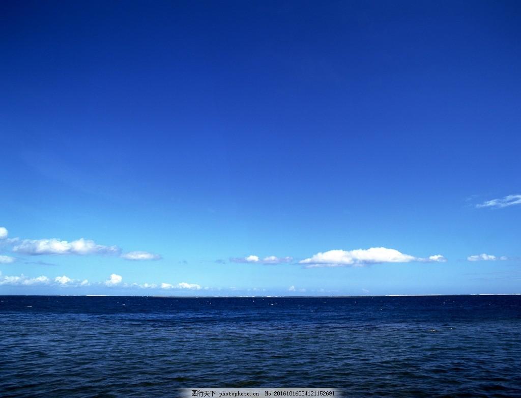 海边蓝天白云自然风景