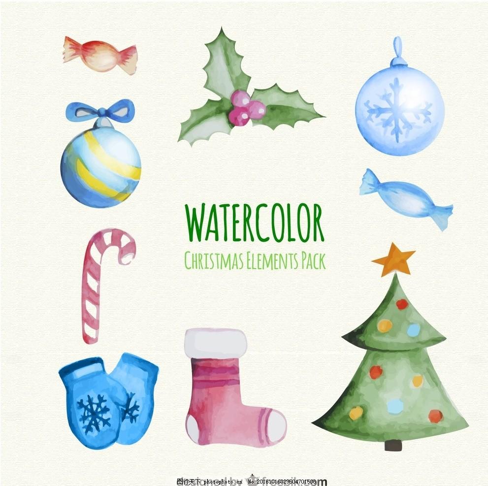 手绘水彩圣诞元素素材 圣诞节 节日 铃铛 圣诞树 袜子 糖果 圣诞果