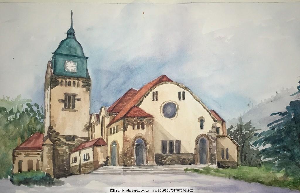 青岛教堂水彩画 青岛 教堂 水彩 水彩画 建筑 设计 文化艺术 绘画书法