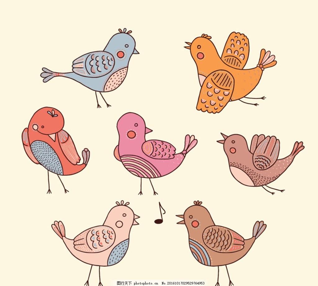 手绘矢量图 手绘小鸟 卡通小鸟 鸟类 小鸟 卡 通 麻雀 海报素材 音符