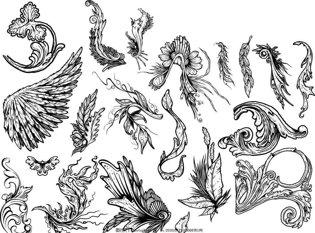 矢量欧美创意黑白图案涂鸦元素 黑白涂鸦 矢量格式 矢量素材 图形素材