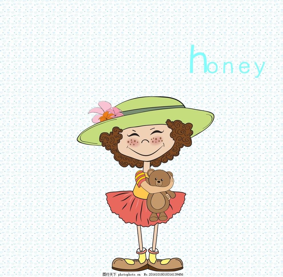 可爱小女孩 卡通 小熊 可爱蝴蝶结 帽子 设计 动漫动画 动漫人物 300
