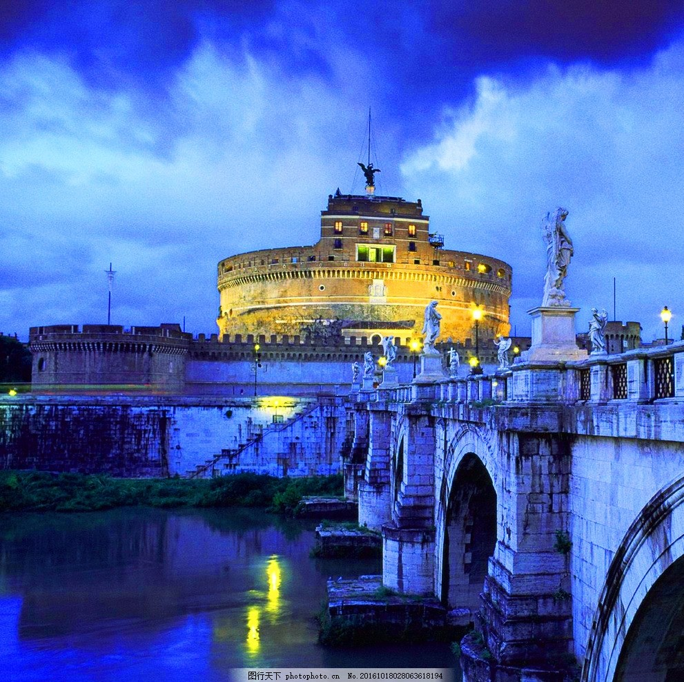 欧式古代城堡 欧式建筑 大桥 桥梁 雕塑 乌云 河流 旅游 摄影