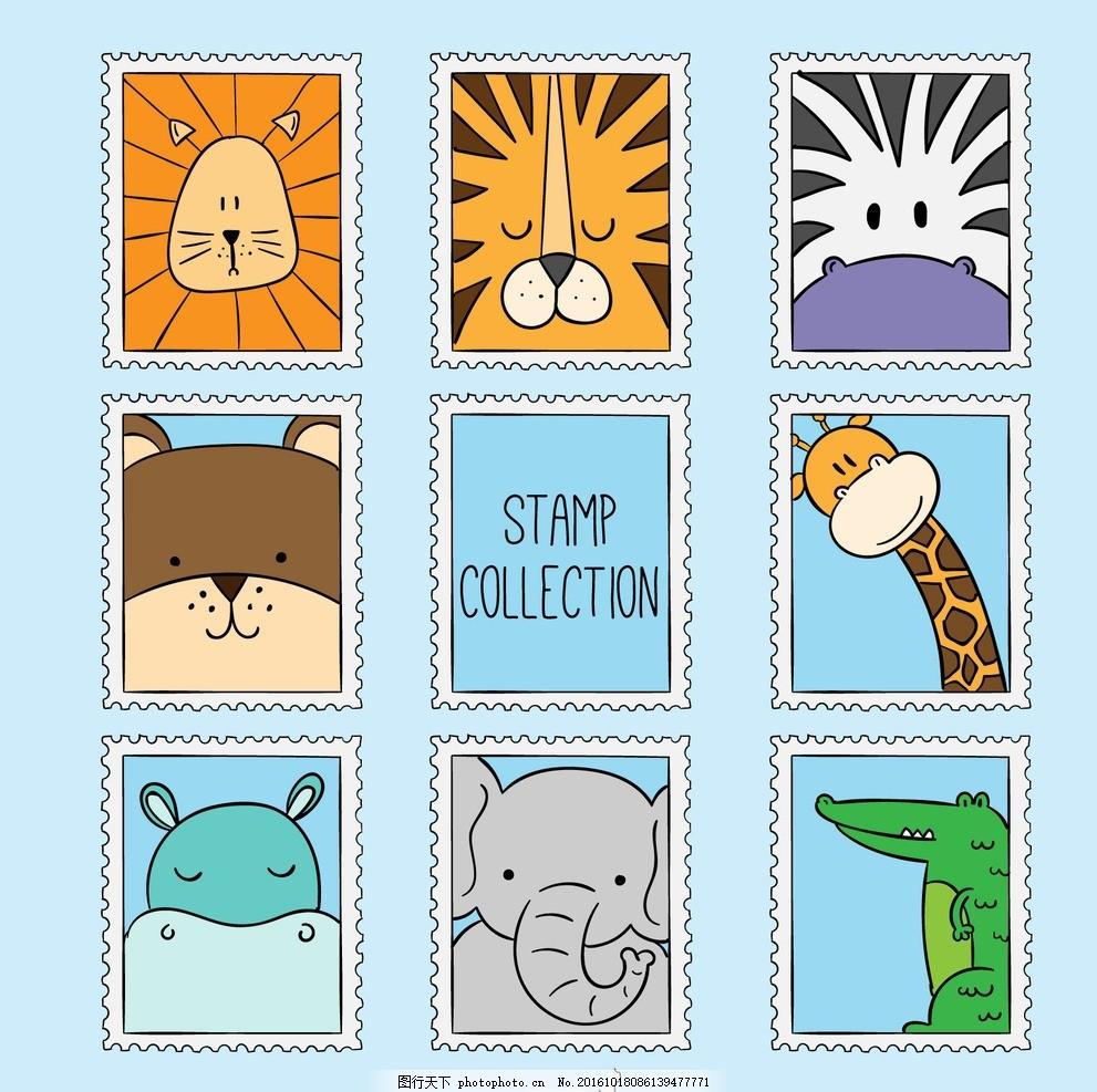 可爱的手绘野生动物 标签 徽章 邮票 自然 贴纸 狮子 大象 熊