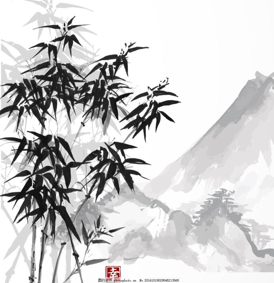 水墨竹子 墨竹 国画 国画竹子 水墨 水墨画 山水 竹子 设计 广告设计