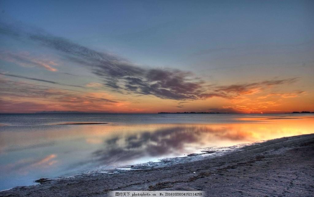 大海风光 沙滩 海边 海水 傍晚天空 黄昏 大海 海边日落 晚霞 夕阳