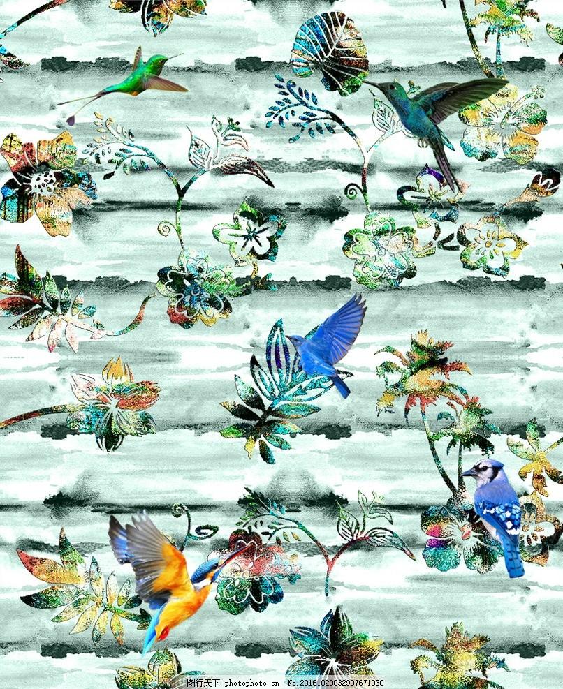 花鸟图 印花 服装设计 时尚 服装 t恤 数码 设计 广告设计 平面图形